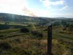 Looking down towards the A56 bypass on top of the coppice, see the barn on fire in the distance.